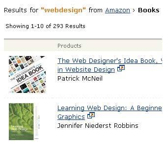 Партнерская программа Amazon.com нашлось 293 книги по веб-дизайну