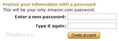 Партнерская программа Amazon.com указываем пароль