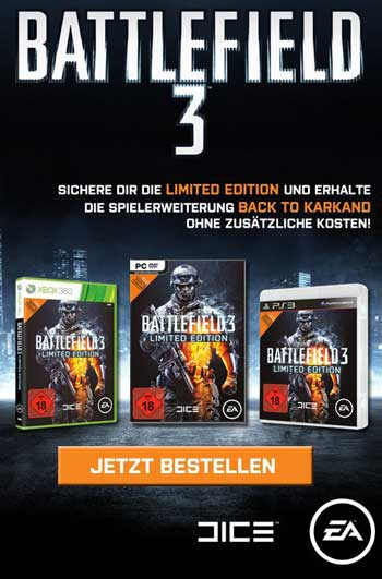 Страница игры Battlefield на немецком