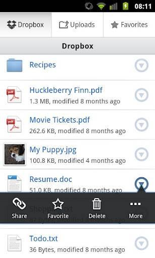 Dropbox для Android