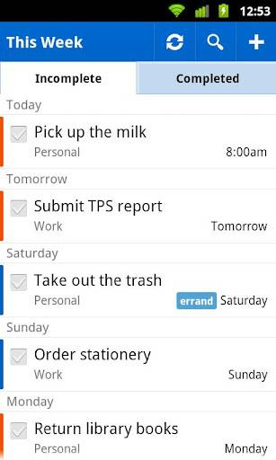 Remember the Milk приложение Android