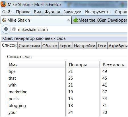 KGen - сокращение от Keyword Generator - это SEO аддон для браузера Mozilla Firefoх