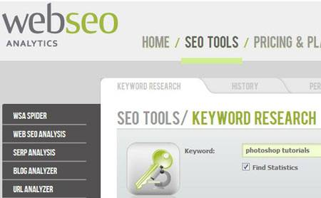 Web SEO Analytics Keyword Research Tool