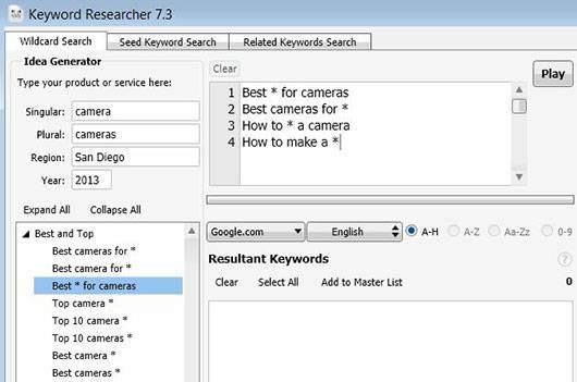 Основная часть интерфейса Keyword Researcher
