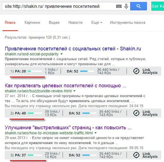 Авторитетность страницы в выдаче Google