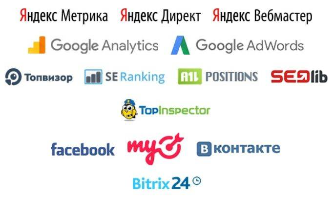 SEO-reports поддерживает следующие сервисы